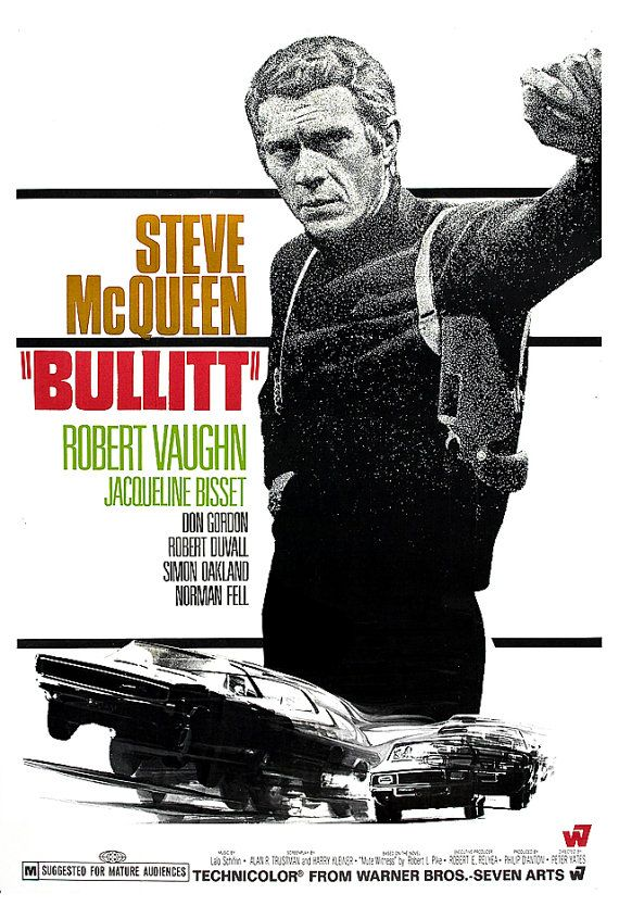 "Steve McQueen - Bullitt - Home Theater Decor - Movie Poster Print  13""x19"" - Media room decor - Car Chase movie"