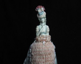 Articoli simili a half doll pincushion doll shabby chic vanity boudoir doll su Etsy