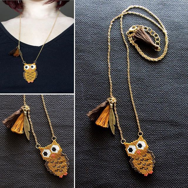 Monsieur hibou s'est installé sur un sautoir. Il vous plait ? ---- Mister owl decided to settle on a long necklace. Do you like it ? #miyuki #miyukidelica #perles #beads #matierepremiere #dmc #handcrafted #craft #faitmain #bijoux #jewelry #jewelrygram #instajewelry #jotd #collier #necklace #sautoir #longnecklace #hibou #owl #bird #oiseau #marron #brown #moutarde #mustard #jenfiledesperlesetjassume #sitroon