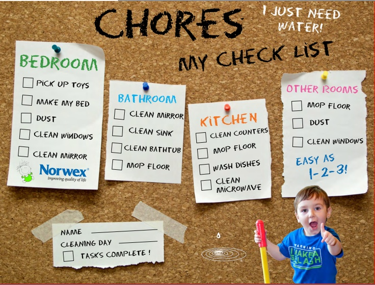 Kids chore list. Check it off and kids can help around the help!