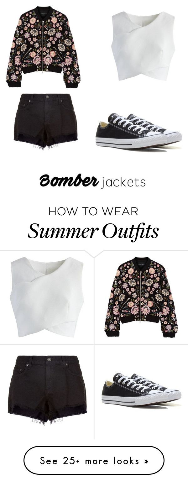 """""""Summer bomber jacket outfit"""" by hettie-leia on Polyvore featuring Needle & Thread, Chicwish, rag & bone, Converse and bomberjackets"""