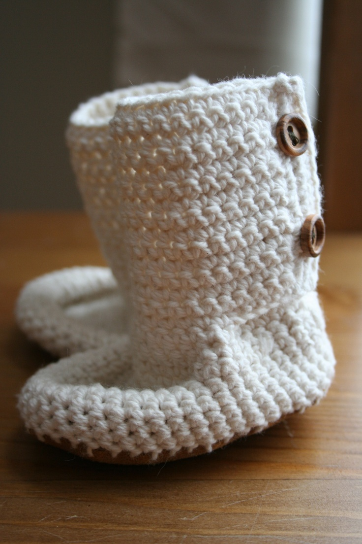 Leather soled, crocheted baby booties $25