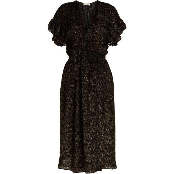 Masscob Deep V-neck patterned velvet wrap midi dress featuring polyvore women's fashion clothing dresses gold midi dress v neck midi dress v-neck dresses ruffle wrap dress velvet midi dress