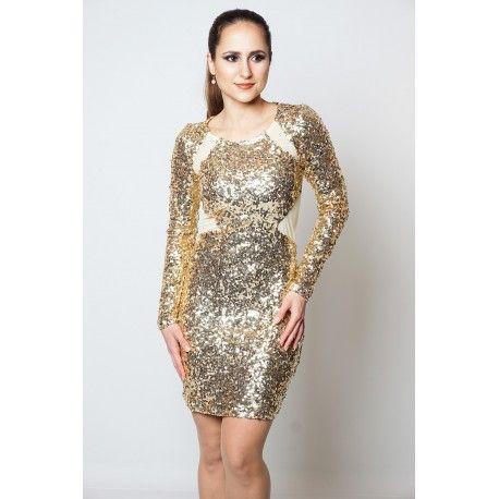 Guld kjole fra Stylewear! Køb denne lækre palietkjole på Stylewear.dk og gør et godt tilbud!