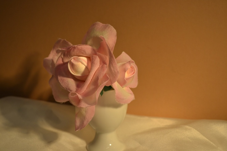 Rose with bud.  Silk satin with hand-edged blushing on the petals.