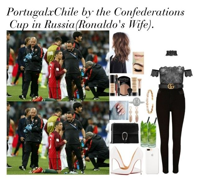 """""""Portugal x Chile by the Confederations Cup in Russia (Ronaldo's wife)."""" by tatabranquinha on Polyvore featuring River Island, Gucci, Christian Louboutin, Maybelline, Smashbox, Suzanne Kalan, Mark Broumand, celebrity, cristianoronaldo and fashionset"""