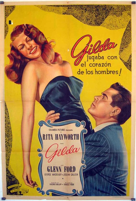 "Spanish language poster for ""Gilda"" starring Glenn Ford and Rita Hayworth"