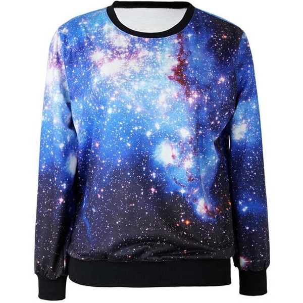 Blue Galaxy Print Stylish Sweatshirt (37 CAD) ❤ liked on Polyvore featuring tops, hoodies, sweatshirts, shirts, sweaters, galaxy, blue, galaxy shirt, cosmic shirt y long sleeve shirts