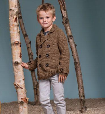 Modèle caban enfant 100% laine - Modèles tricot enfant - Phildar