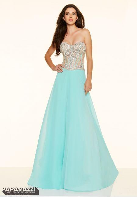 Prom Dress 98092 Crystal Beaded Net and Chiffon