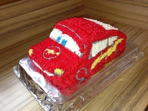 Cars Sahne Torte Anleitung  Lightning McQueen für Kinder