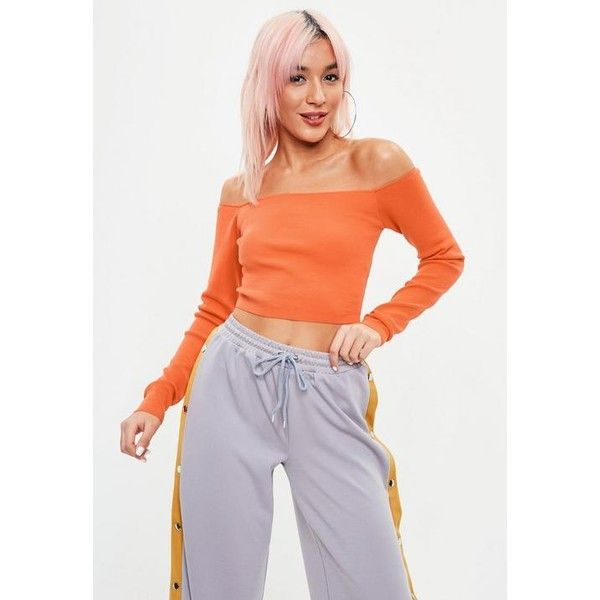 Missguided Orange Bardot Cropped Sweater (£19) ❤ liked on Polyvore featuring tops, tangerine, nylon top, cut-out crop tops, nylon crop top, orange crop top and long sleeve tops
