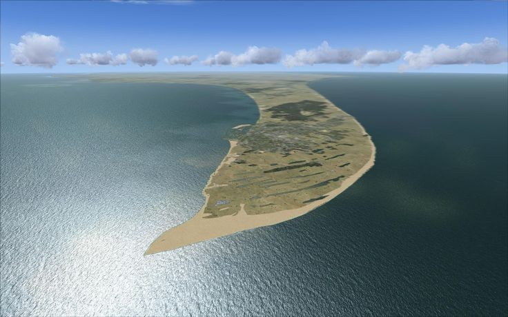 Skagen, Denmark -- the land just looks so amazing sitting there surrounded on 3 sides by ocean.   What an awesome aerial view. (Click to enlarge in order to appreciate its beauty).