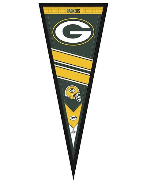 Green Bay Packers Framed Pennant Graphic with team graphic and logo ready to hang in your team fan cave