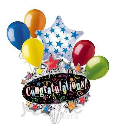 7 pc Congratulations Colorful Marquee Balloon Bouquet Retirement Graduation Grad
