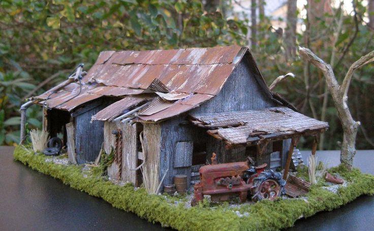 Diorama abandoned barn model train building modeling for Building model houses