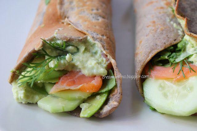 Buckwheat crepe with smoked salmon, rocket, creamy avocado and cucumber