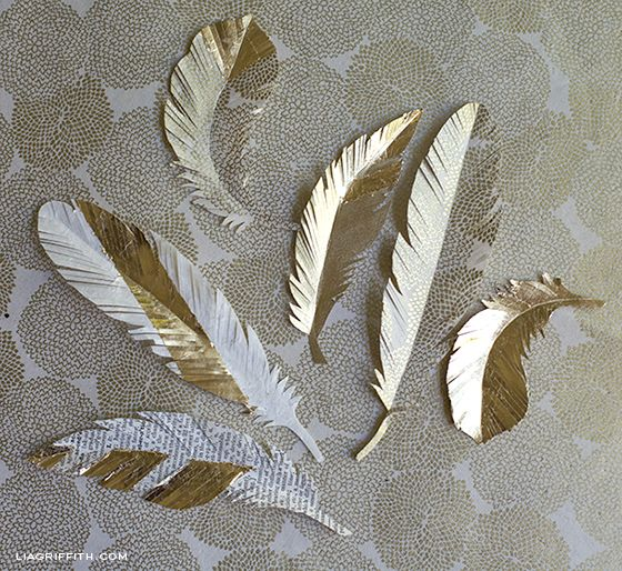 Lia Griffith Paper Feathers n Gold Foil... gorgeous! With templates, etc.