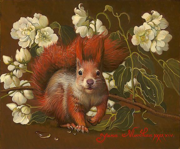 Artist: Yana   Movchan, Title: Red Squirrel with Jasmine - click to close window