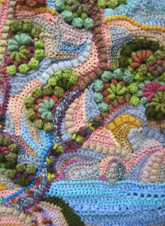 crochet freeform art painting pillowcase in a single by