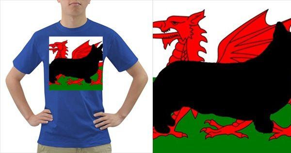 Cardigan+Welsh+Corgi+Silo+Wales+Flag+Dark+T-Shirt
