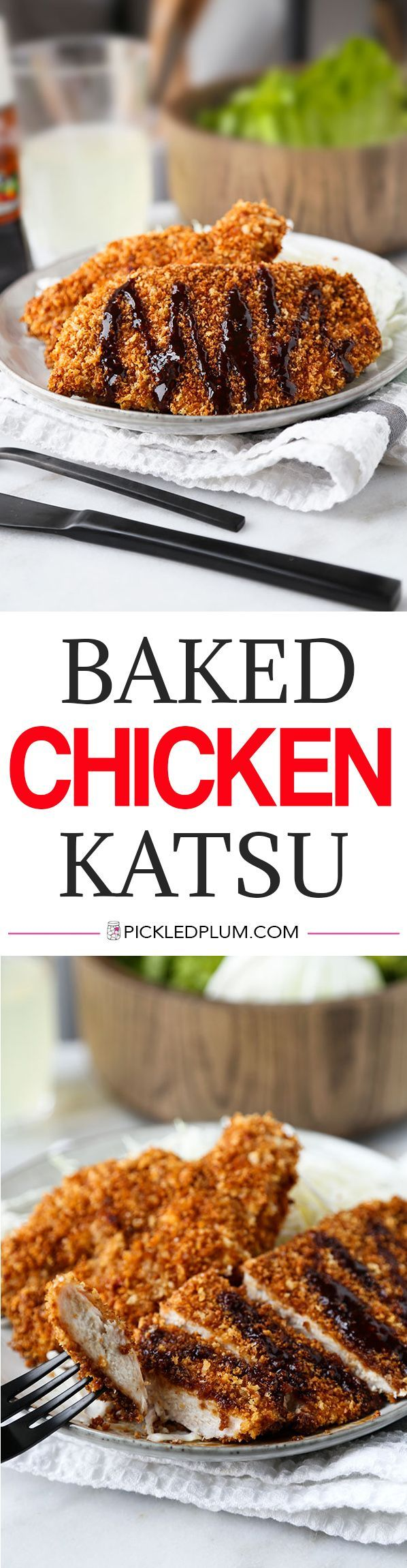 Baked Chicken Katsu - Not only is this baked chicken katsu recipe just as crispy as the deep fried version, it stays crispy even longer! Recipe, chicken, dinner, healthy, bake | pickledplum.com