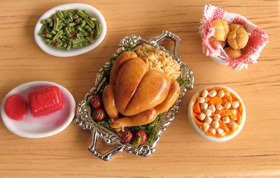 Thanksgiving Turkey Dollhouse Miniature Clay Food by MotherMayI, $27.00