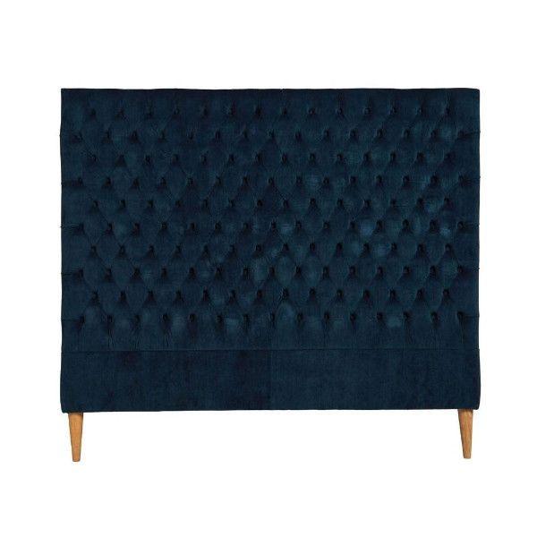 Navy Velvet Buttoned Bedhead Queen #decor #interiordesign #gaudionfurniture #costalbeachinteriors #style #homeinterior #bedhead
