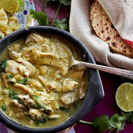 All the spices! Try this easy pressure cooker #greenchile with #chicken