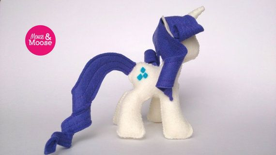 Eco Friendly and sustainable 100% wool felt Rarity inspired MLP plush, made by Mouse & Moose on Etsy.  Sustainable felt plushie.