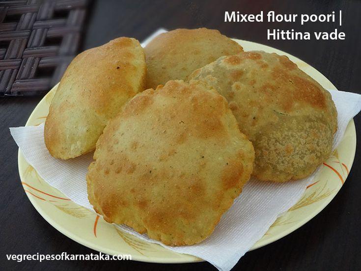 Mixed flour poori recipe | How to make hittina vade | North Karnataka style multi flour poori