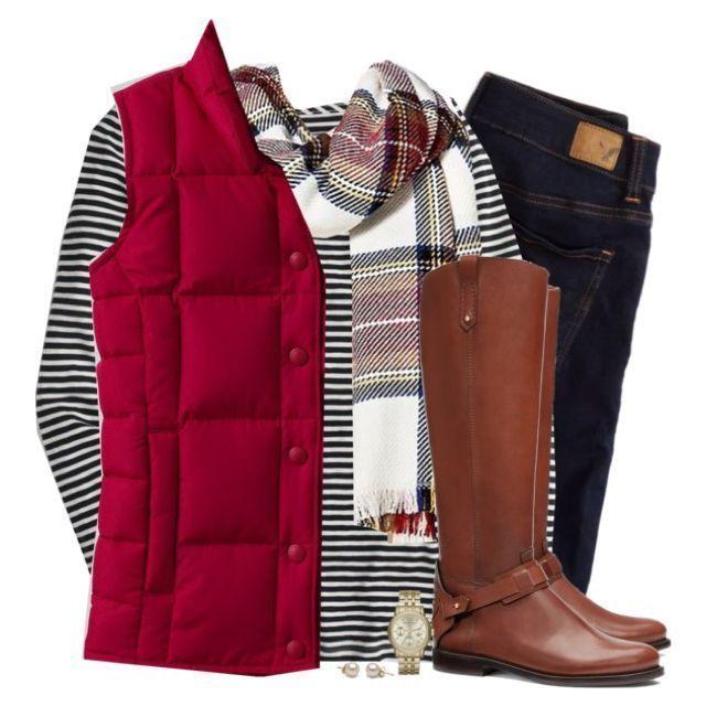 Red down vest, tartan scarf & striped top
