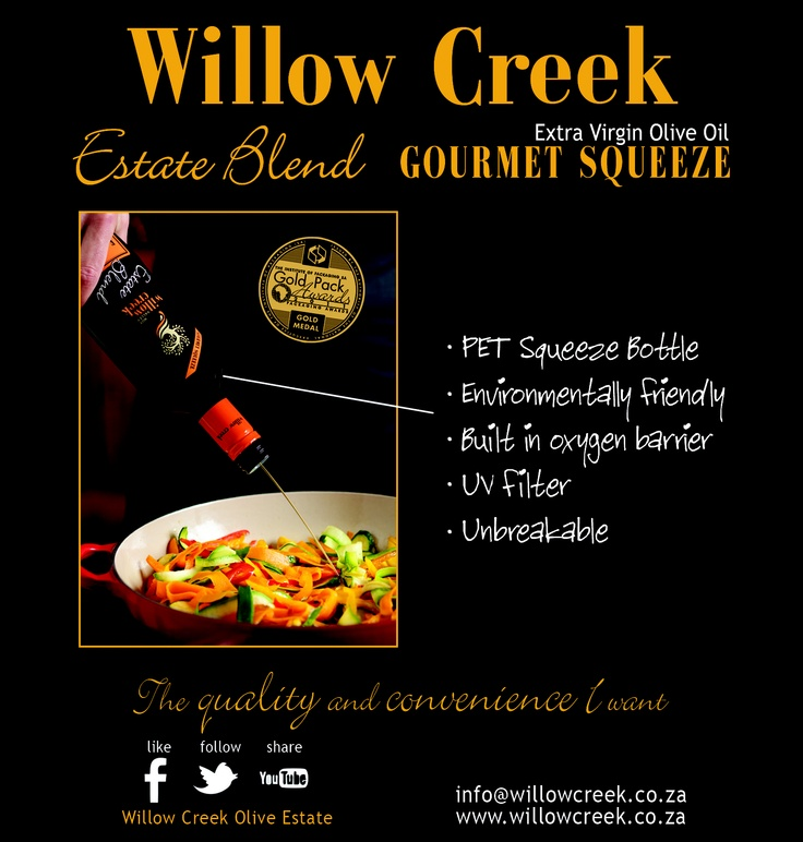 Willow Creek Gourmet Squeeze bottle filled with Estate Blend Extra Virgin Olive Oil.  South African