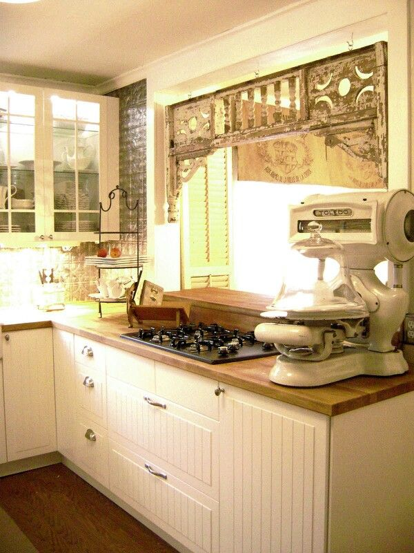 White kitchen with an old style