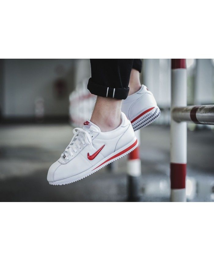 new product 39b9b 7d21c Nike Cortez Jewel Trainers In White Red
