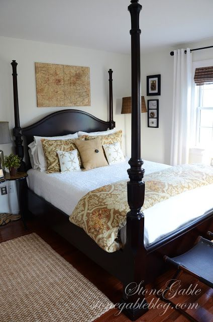 StoneGable: MAPPING THE WAY...HOME charming room with dark four poster bed and brown tonal scheme...