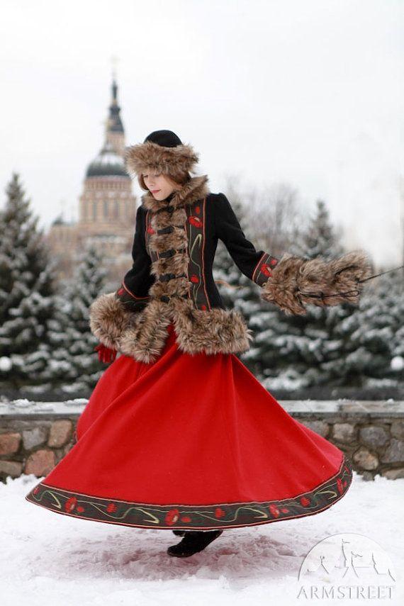 20 % DE RÉDUCTION ! Jupe longue laine « Saisons Russes » ; jupe chaude ; jupe d'hiver ; Costume folklorique russe