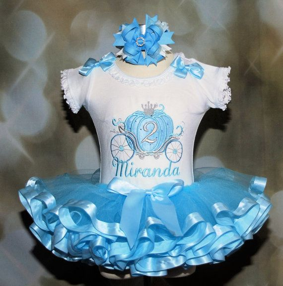 4 pc Cinderella Carriage Princess Birthday   Tutu Outfit Blue