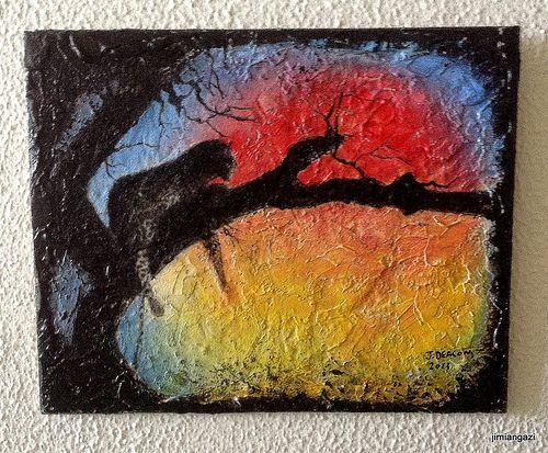 Sunset - oil on ceremic tile - 20.5cm x 24.5 cm - jimmy deacon
