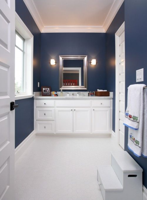 Navy blue and white bathroom home ideas pinterest - Bathroom decorating ideas blue walls ...
