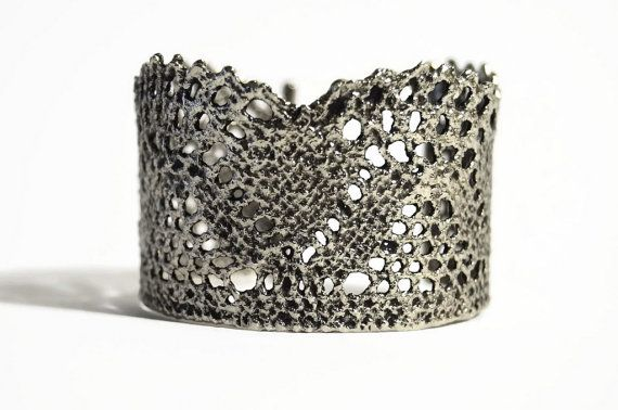 Statement cuff antique plated lace bracelet Retro by MyElesi