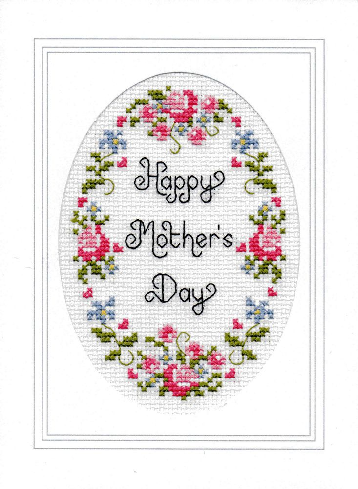 Happy Mother s Day cross stitch card kit