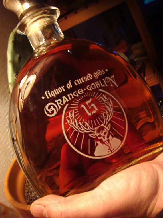 "Orange Goblin band / ""Liquor of cursed gods""- Cognac bottle / Sérigraphie / 2004 /1 ex."