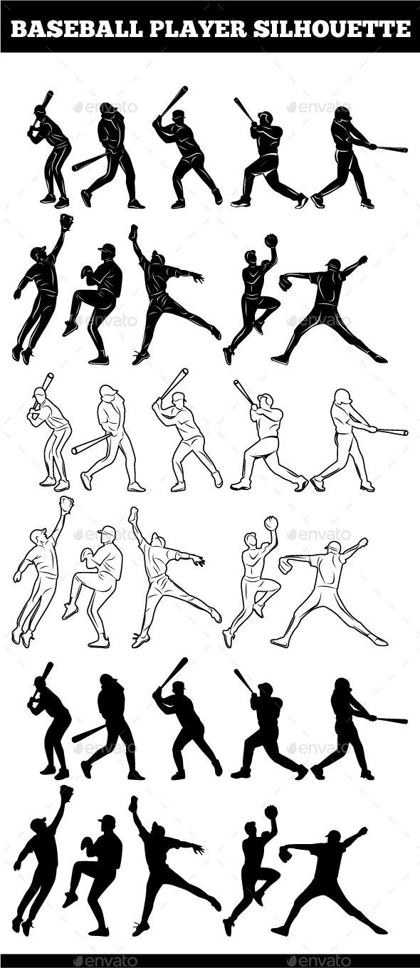 Baseball Player Silhouettes - Sports/Activity Conceptual