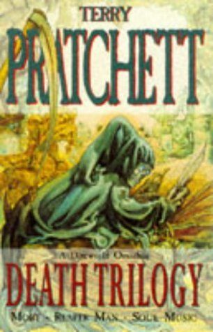 Death Trilogy: Mort, Reaper Man and Soul Music by Terry Pratchett. Available here: http://www.amazon.co.uk/gp/product/0575065842?ie=UTF8&camp=3194&creative=21330&creativeASIN=0575065842&linkCode=shr&tag=hannster-21&=books&qid=1379896315&sr=1-2&keywords=mort