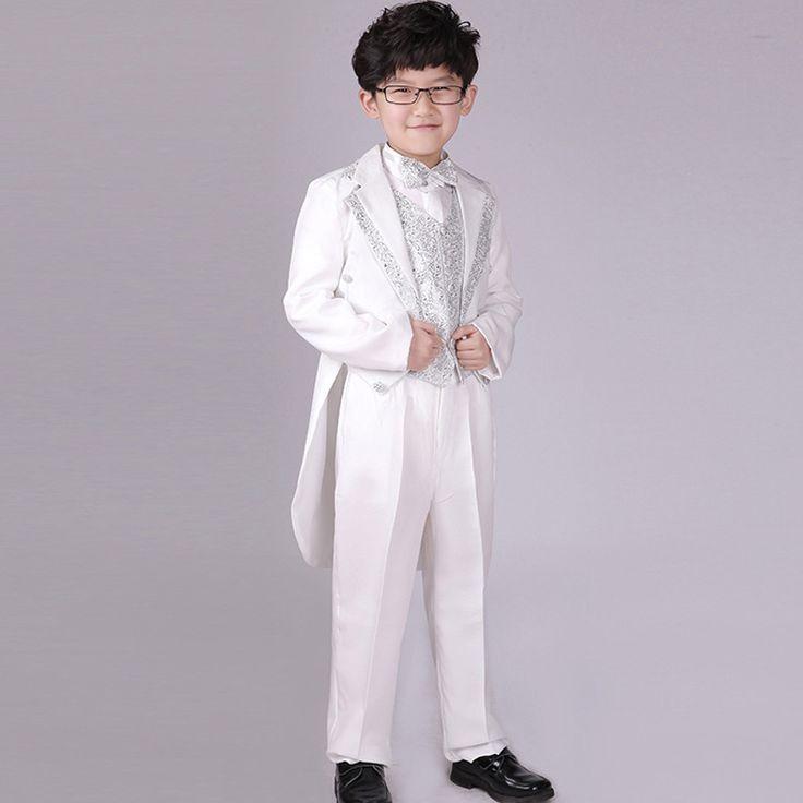 Мальчики Белый костюм 6 шт. Свадебные костюмы для Мальчиков Пиджак куртка Страница мальчик Наряды Дети Формальные одежда Осень Одежда наборы смокинги