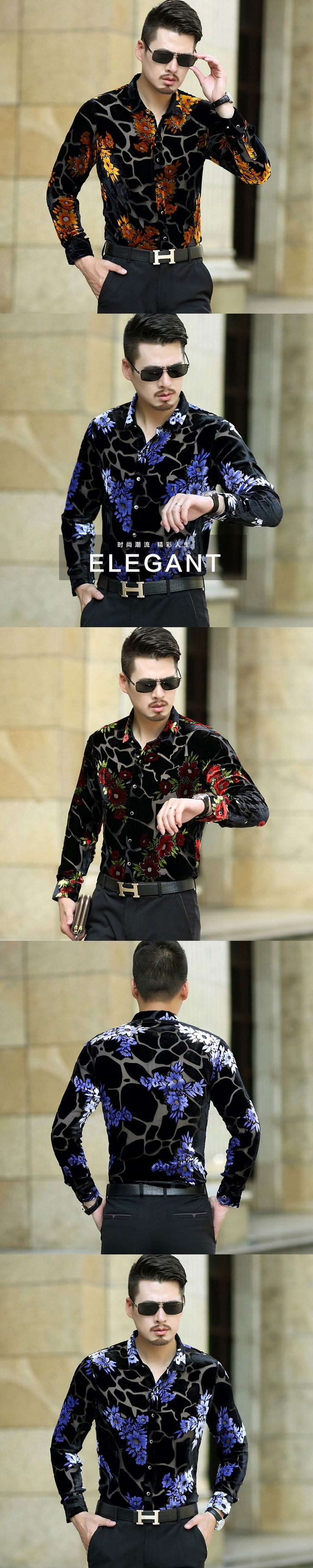 New arrival 2017 male hollow floral dress shirt sexy man see through clothes transparent long sleeve shirts