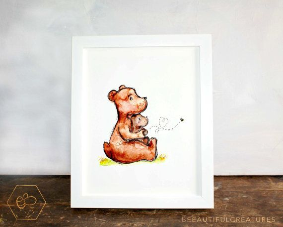 Bear Hug Art Digital Download Animal by BEEautifulcreatures
