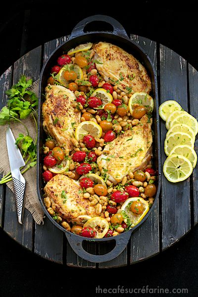 Everyone goes crazy over this make-ahead dinner. The leftovers are wonderful with hummus and pita bread!! Mediterranean Roasted Chicken Breasts w/ Tomatoes & Cannelini Beans - thecafesucrefarine.com
