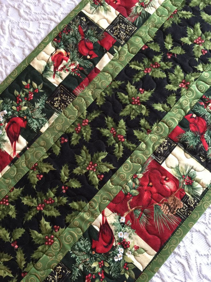 Christmas Table Runner Quilt, Cardinals, Birds, Pine Trees, Red, Green, Black, Handmade by KeriQuilts on Etsy